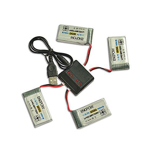 BJJH 3,7V 1200mAh Lipo Akku Batterie Für SYMA X5SC X5SW RC Quadcopter Drohne + 4 in 1 Batterien Ladegeräte Adapter (Weiß)