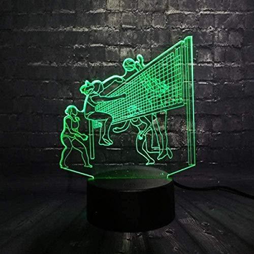 Sportliche 3D-Serie Multicolor LED Nachtlicht Tennislampe Beachvolleyball Kinder Tischdekoration Licht USB-Sockel 4 One 7 Farben USB Wiederaufladbar Energiesparend G-Yd6473