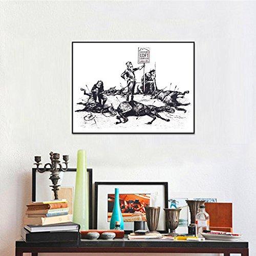 Geiqianjiumai Ironische Banken Dode Paard Pijl Muur Schilderen Woonkamer Muurdecoratie Posters en Prints Randloze Schilderijen