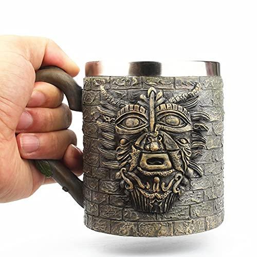 Leobtain Jarro de Cerveza Tribal Sheikhs Ancianos de Acero Inoxidable Resina 3D Taza de Cerveza Copa de Copa Juego Taza de café Taza de Vino Tazas de Vidrio 450ml (Color : Elders Mugs)