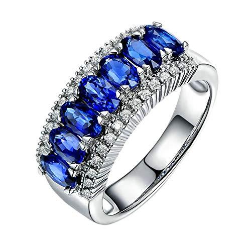 AueDsa Anillo Mujer Plata Azul Anillos de Mujer de Oro 18K Redondo con Oval Zafiro Azul 2.2ct y Diamante Talla 11