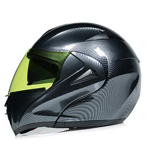 SJAPEX Casco de Moto Modular Integrado con Doble Anti Niebla Visera Cascos de Motocicleta ECE Homologado a Prueba de Viento para Adultos Hombres Mujeres G,L=59~60cm
