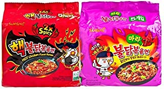 Fusion Select Samyang Spicy Chicken Ramen 2x Spicy & MALA Combo, Pack of 10
