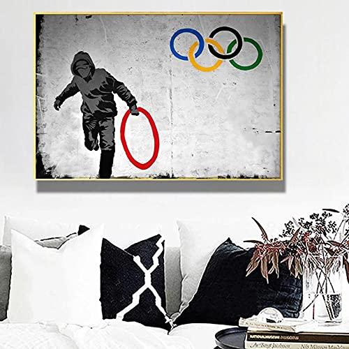 NMASFD Hombre Robar Anillos OlíMpicos Banksy Graffiti Poster Impresiones Arte De La Pared Figura Abstracta Lienzo Pintura Salon De Estar Decoracion para El Hogar Cuadros 40x60 Cm Sin Marco