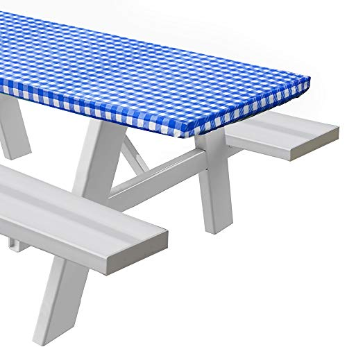 Sorfey Vinyl Picnic Table Fitted Tablecloth Cover, Checkered Design, Flannel Backed Lining, 28 x 72 Inch Blue