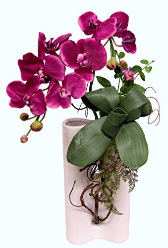 Flair Flower Orchidee in Keramik-Vase, Stoff, rosa dunkel, 51 x 26 x 15 cm