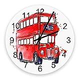 Reloj de pared moderno con decoración, acuarela, autobús de Londres del Reino Unido, relojes de pared grandes (silenciosos) para sala de estar / baño / cocina, con pilas, interior, exterior, madera, p