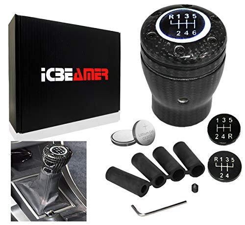 ICBEAMER Racing Style Black Carbon Fiber w/White LED Light Universal Fit Stick 5 6 Speed Manual Transmission Shift Knob