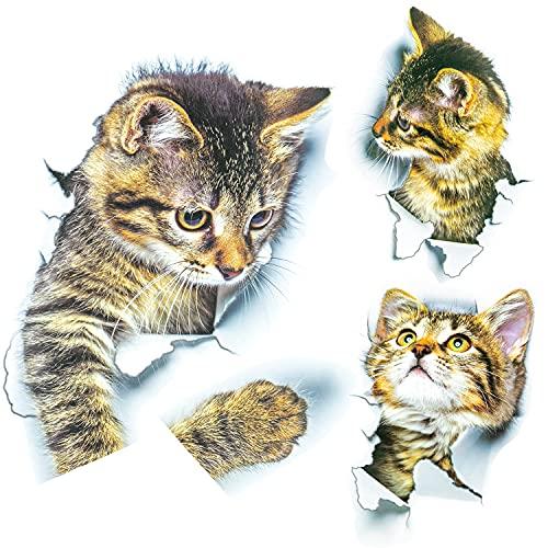 WATACHE 3PCS 3D Gatos Pegatinas, Animales de Dibujos Animados Cute Cat Emoticons Stickers Toilette para Nevera, Inodoro, decoración del hogar, Dormitorio de niños, decoración de Bricolaje (Gato)