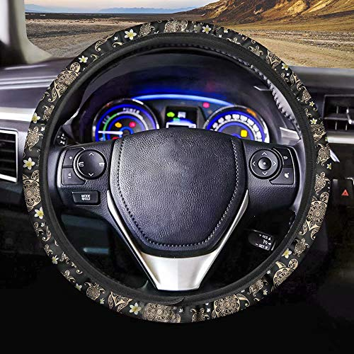 chaqlin Universal Steering Wheel Covers Black Sunflower Car Steering Wheel Cover for Women and Girls Fabric Cover Car inner Accessories