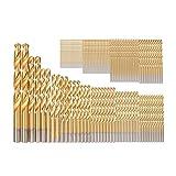 YWSZJ 50/99 Piezas de Brocas de Titanio HSS recubiertas de 1,5 mm - 10 mm de Acero Inoxidable HSS Juego de Brocas de Alta Velocidad para Herramientas eléctricas (Size : 100PS)
