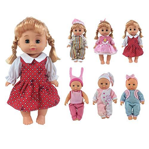 CZC GIFT Ropa para Muñeca Bebé Vívidos y Lindos Vestidos y Accesorios Hechos a Mano para Muñeca Bitty Baby y Otras de 12-14 Pulgadas (6PCS)(30cm-35cm)