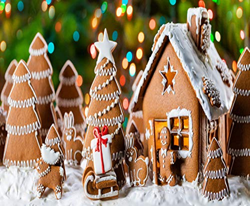DIY 5D Diamond Painting Kits Gingerbread House and Trees Star Seamless 12X16 Inch Full Drill Painting Arts Craft Canvas for Home Wall Decor Cross Stitch Gift