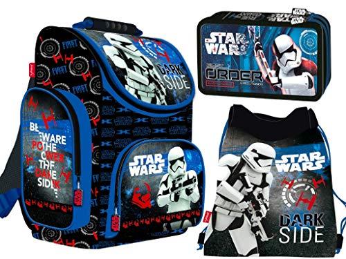 3-teiliges Schulranzenset Star Wars Schulranzen, 2-fache gefüllte Federtasche, Schuhbeutel Jungen Star Wars Motiv