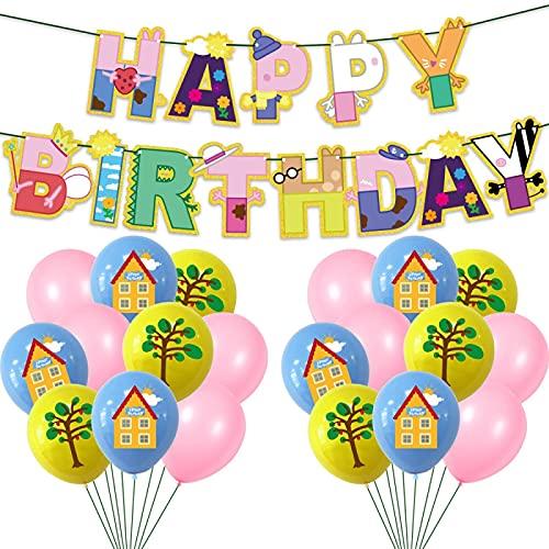 SHLMO Pancarta de látex de 30,48 cm Peppa George La Chila con globos de flores para cumpleaños, 1 bandera de 24 bolas (8 casas, 8 árboles, 8 rosas)