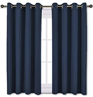 NICETOWN Blackout Curtain Panels Grommet - All Season Eyelet Top Blackout Draperies for Bedroom/Living Room/Glass Door, Navy Blue, 1 Pair of 52 x 45 inches