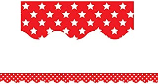 Teacher Created Resources Red with White Stars Scalloped Border Trim (5809)