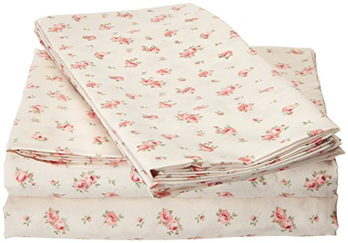 Amrapur Microfiber Sheet Set | Luxuriously Soft 100% Microfiber Rose Printed Bed Sheet Set with Deep Pocket Fitted Sheet, Flat Sheet and 2 Pillowcases , 4 Piece Set, Queen