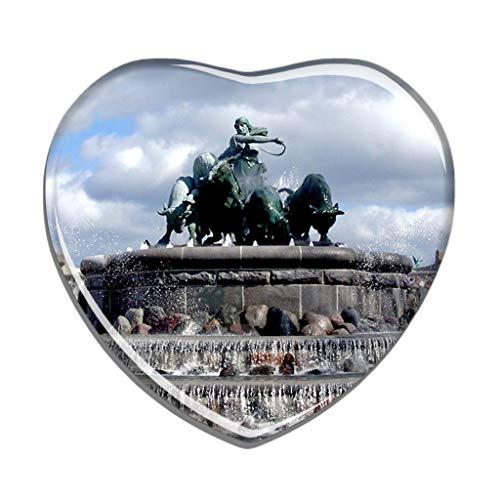 Hqiyaols Souvenir Dänemark Gefion Brunnen Kopenhagen Kühlschrankmagnet Herzform Kristall Kühlschrank Aufkleber Magnet Reisen Geschenk Sammlerstücke Andenken