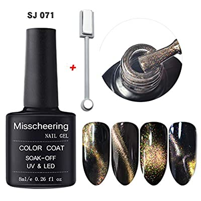 YUAN Polish 5D Nail Gel Magnet Magic Cat Eye Gel Nail Art UV LED Gel Magnet Slice Set Multicolor Metallic Nail Polish Magic Mirror Effect Chrome Nail Varnish