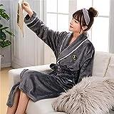 Handaxian Mujeres más 3XL camisón de Tela de Invierno para Damas y Hombres Coral Kimono Bata Pareja Coral Coral Pijamas