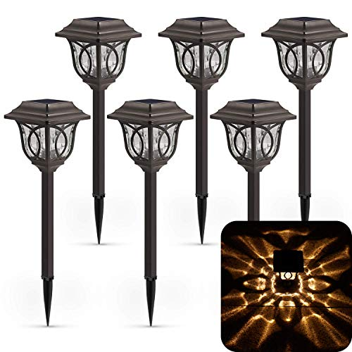 XMCOSY+ 6 Pack Solar Landscape Lights Solar Powered Reddish-Brown Glass Lampshade & Stainless Steel, Auto On & Off, 25 Lumens, Waterproof Solar Lights Outdoor Decor for Garden, Yard, Pathway
