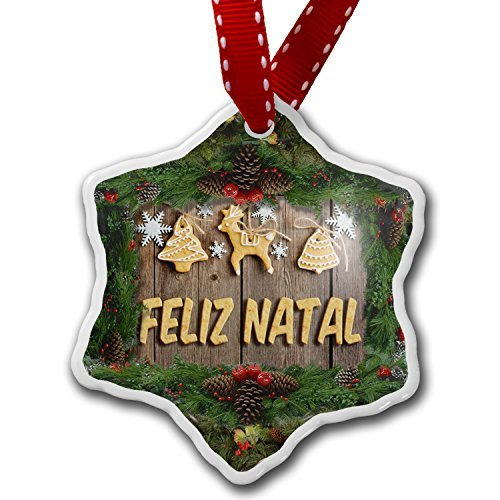 Christmas Craft Tree Decorations Merry Christmas In Portuguese From Portugal Brazil Cape Verde Christmas Ornament Custom Xmas Gift