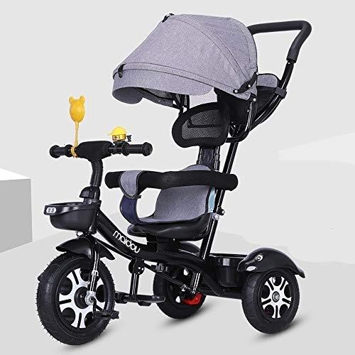 JINHH Dreirad, Kinderdreirad,klappbares Sonnendach Elternlenkung Dreirad Kinder Pedal Trike,Verstellbar Sitz Front Dreirad für Kinder 2-6 Jahre, Black