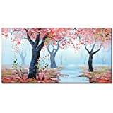 Boiee Art,24x48Inch 100% Hand-Painted Fall Forest Landscape Oil Paintings Autumn Maple Tree Wall Art Nature Scenery Artwork Misty Morning Canvas Paintings Home Wall Decor Art Wood Inside Framed Ready to Hang for Living Room