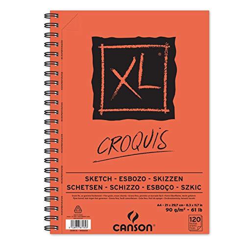 CANSON XL® Croquis Skizzenblock, spiralgebunden an der langen Seite, DIN A4, 120 Blatt, 90 g/m²