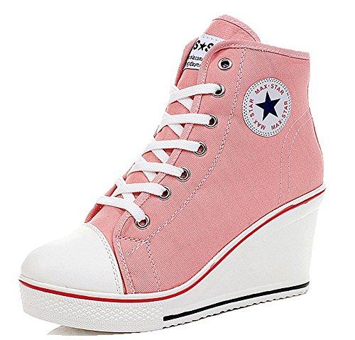 Wealsex Mujer Cuñas Zapatos De Lona High-Top Zapatos Casuales Encaje Talla Grande (Rosa,38)