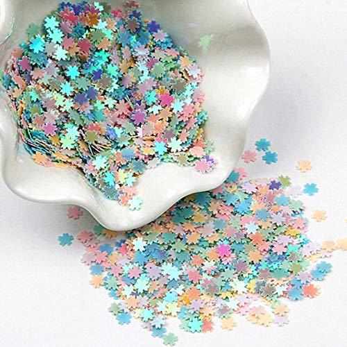 Kersenbloesem vormige pailletten 5mm bloem PVC losse glitter pailletten voor nagels Art Manicure bruiloft Confetti 20g, warme mix, 5mm20g