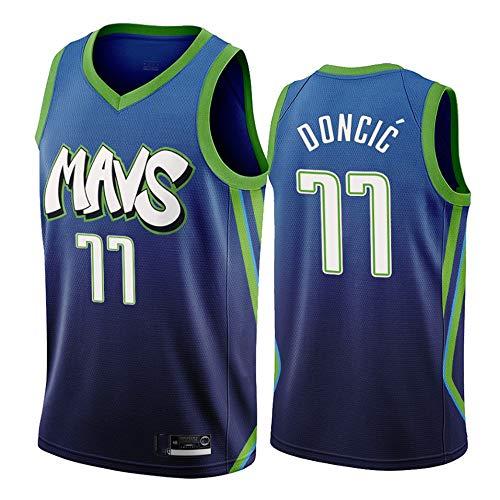 LSJ-ZZ Männer Basketball Kleidung NBA Dallas Mavericks 77# Doncic Klassische New Jersey stickte Mesh-atmungsaktiv, Unisex Basketball-Fan ärmel Sport Weste,S(170cm/50~65kg)