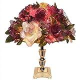 LWX Creative, de moda, romántica, lámpara de escritorio LED de rosa, luz nocturna con diseño de flor de flor de rosa, Cuerpo de lámpara de cristal K9 para Decoración, Presente, Dormitorio, Sala de est