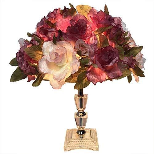 Kk Timo Creative, de moda, romántica, lámpara de escritorio LED de rosa, luz nocturna con diseño de flor de flor de rosa, Cuerpo de lámpara de cristal K9 para Decoración, Presente, Dormitorio, Sala de
