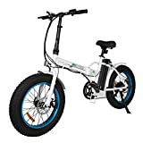 20' 500W 36V 12Ah Fat Tire Folding Electric Bike Removable Lithium Battery Beach Snow Bicycle Moped Electric Mountain Bike Powerful Motor Aluminum Frame