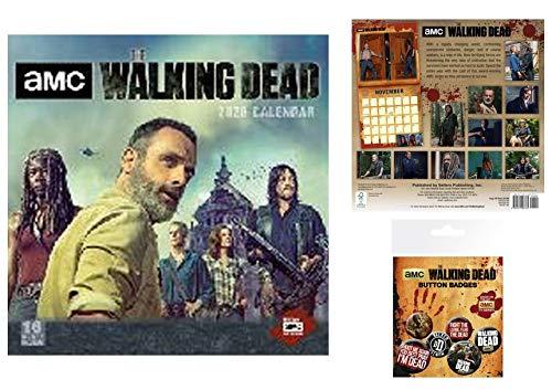1art1 The Walking Dead, Offizieller Kalender 2020 (30x30 cm) Inklusive 1x Button Pack (15x10 cm) Geschenkset