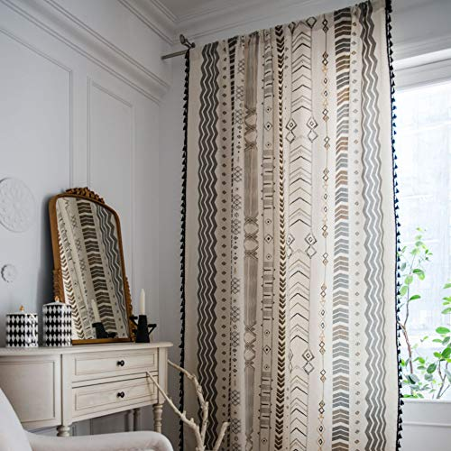 "SUCSES Boho Curtains with Black Tassels, Cotton Linen Geometric Bohemian Window Curtain Panel, Room Darkening Rod Pocket Coutnry Style Drape (1 Panel, 59"" x 63"")"