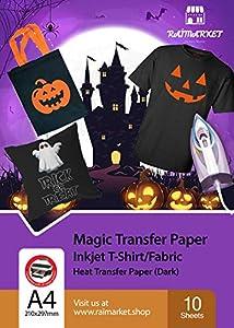 Hierro sobre papel de transferencia para tela oscura (Magic Paper) de Raimarket | 10 hojas | A4 Transferencia de hierro para inyección de tinta en papel / camiseta
