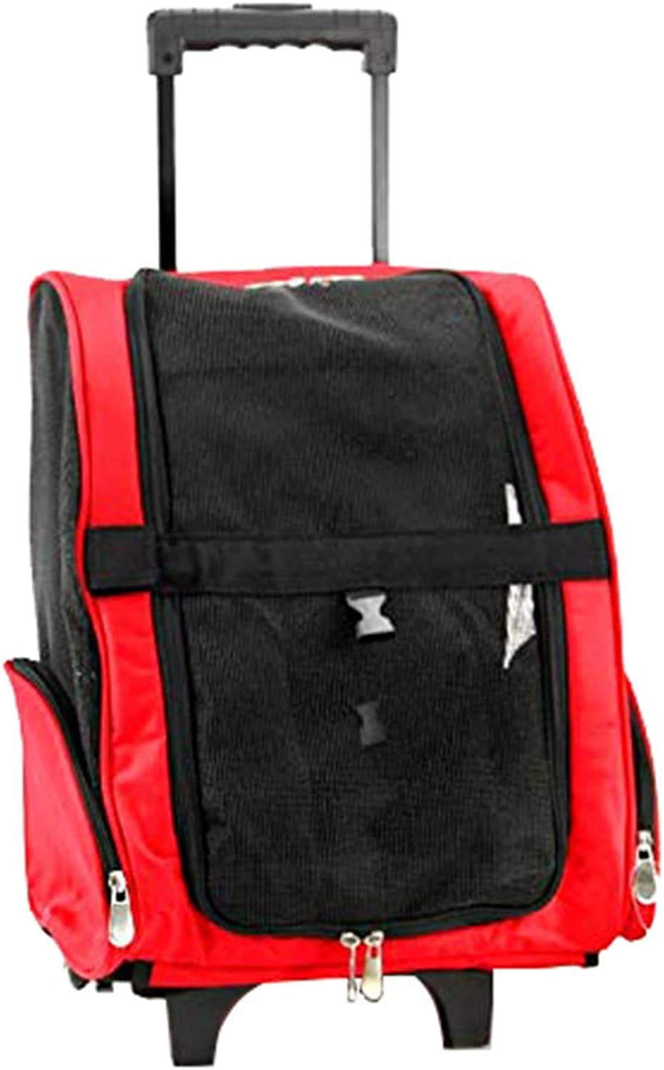 Roller Backpack, Pet Carrier with Rolling Wheels, Mesh Ventilation, with Extendable Handle, Lightweight Dog and Cat Carrier