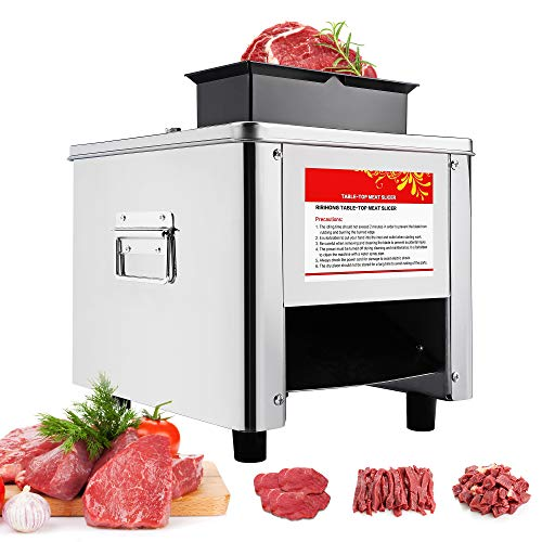 Mxmoonant 2.5mm+10mm Electric Meat Cutter Cutting Machine Slicer Cube Shredded Meat 330lb h 850W 2 Feed ports Stainless Steel Chicken Fish Beef Chicken Meat Vegetable Slicer (2.5mm+10mm)