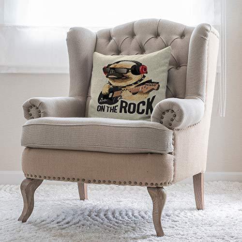 Bloong Fundas de almohada decorativas para perro, 40,6 x 40,6 cm, diseño de carlino y animales, para tocar guitarra, rock N roll. Funda de almohada para sofá cama
