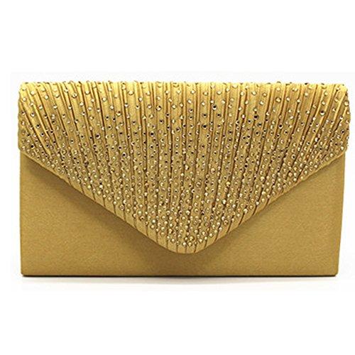 Bolso de mano para mujer con diamantes de imitación esmerilados para fiesta clásica, color Amarillo, talla Talla única