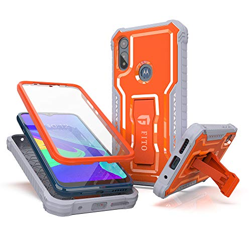 FITO Moto E Phone Case, Dual Layer Shockproof Heavy Duty Case for Motorola Moto E 2020 Phone with Screen Protector, Built-in Kickstand (Orange, 6.2 inch)