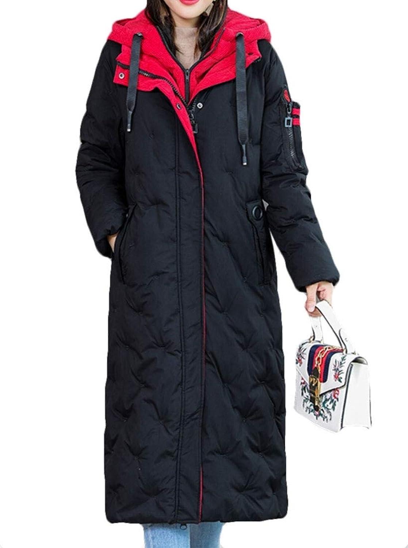 Keaac Women's Hooded Winter Thickened Long Down Jacket Down Parka Puffer Coat