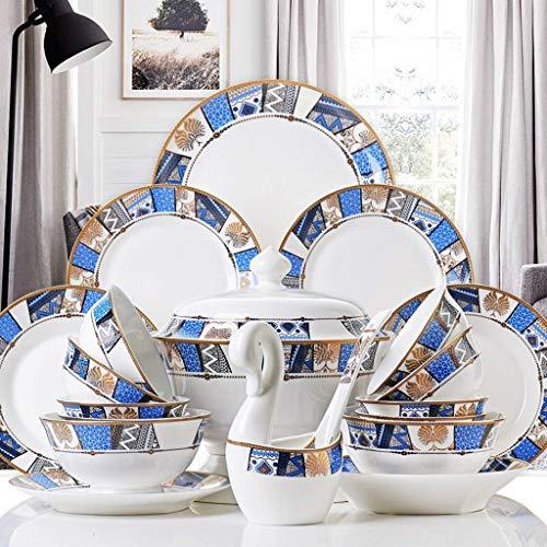 YANJ Juego de vajilla de cerámica con 50 Piezas, Cuenco/Plato/Olla de Sopa/Cuchara | Juegos de vajilla de Porcelana China, Platos Combinados de Porcelana exótica