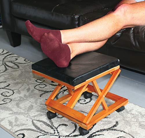 Footrest Foldaway Elevated Foot Stool Under Desk - Adjustable Height Foot Rest -Rolling Wood Ottoman Black Leather Footstool Walnut Finish