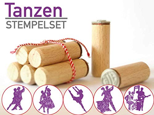 13gramm Tanzen Stempelset Geschenk, 5-teilig aus Buchen-Holz