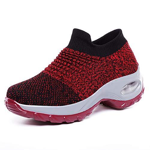 HJXY Zapatos Ortopédicos Air Confort para Mujer - Zapatos para Caminar de Malla sin Cordones Zapatillas de Deporte de Moda Mocasines de Plataforma con cuña cómoda (EU39,Rojo)
