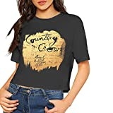 AlbertV Counting Crows August and Everything After Sexy Exposed Navel Women T-Shirt Bare Midriff Crop Top Tee Black S